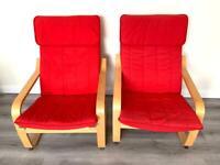 2x IKEA POÄNG armchairs for sale.
