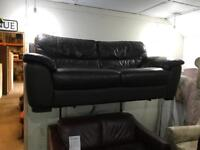 As new large brown leather 2 seater sofa