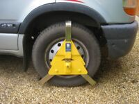 Wheel clamp for a carvan