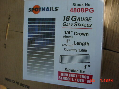 "Spot Nails 4808PG L/90 Series 18 Ga Staples 1/4"" Crown, 1"" leg, 30,000 Count"