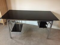 Black and chrome glass computer table