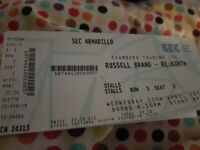 Russell Brand Re:Birth 11.4.18. SECC armadillo . Stalls Row S seat 1 and 2.