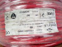 Fire alarm /emergency lighting cable .Both drums 2x1.5 mm x100mts in red