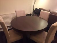 Round/Oval Extendable Dining Table and Chairs - Brown - IKEA BJURSTA