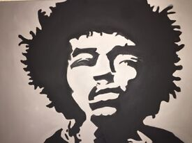 Jimi Hendrix Painting. Large Box Canvas Hand Painted. Black and White Pop art