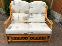 Wicker Conservatory Sofa, two seater settee (free local delivery)