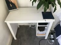 White wooden desk. Fits in 1m space.