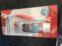 Dog toothbrush and toothpaste set