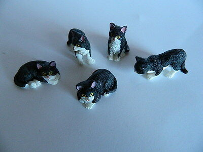(G2-12) DOLLS HOUSE RESIN SET OF FIVE ASSORTED BLACK/WHITE CATS