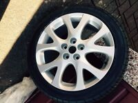 """Genuine Mazda 18"""" wheel c/w tyre and boot liner"""