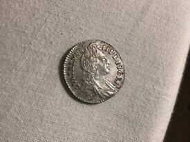 William 3 rd 1696 sixpence