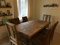 Large Rustic Farmhouse Style Dining Table and 6 Chairs £300ono
