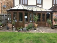 "Large Wooden ""P"" shaped Conservatory"