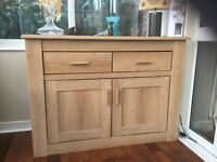 Limed oak veneer sideboard