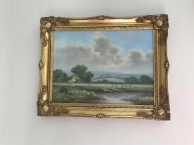 Framed rural landscape painting by W. Reeves ( English landscape artist)
