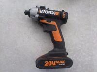 Worx WX290.1 Li-Ion Cordless Impact Driver 2 batteries - Homebase £99.99