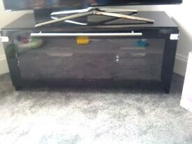Black TV unit with glass cabinet