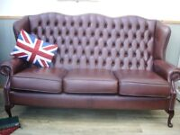 Stunning Brown Leather Chesterfield Queen Anne 3 Seater Sofa.