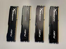 HyperX FURY Black, 32 GB, 1866 MHz DDR3 (Kit of 4)