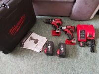 Milwaukee 18v li-ion combi drill and impact driver set