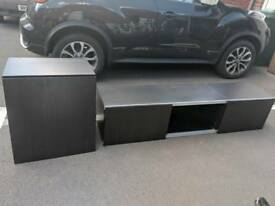 Black/brown floating Ikea TV unit