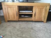 Oak furniture - tv unit, sideboard, nest of 3 tables