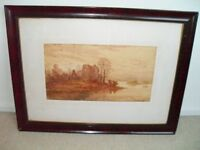 1887 Framed and Signed Watercolour Painting by A Coleman of Lake View at Dusk