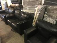 Black leather 3 2 1 sofa set