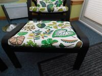 Two Ikea Poang Footstools in Black-Brown and vibrant Simmarp Green