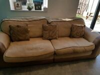 dfs suite includes sofa, armchair, footstool & matching scatter cushions