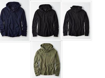 Hooded Long Sleeve Henley (NWT AEO American Eagle Long Sleeve Hooded Henley Tee 3 Colors M , L or XL)