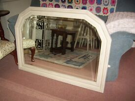 LARGE OVER MANTLE BEVELLED MIRROR ANNIE SLOAN OLD OCHRE VGC