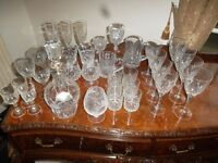 Large crystal glassware collection.