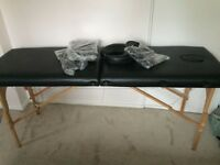 Second hand (fairly new) massage table with unwrapped arm/head rest
