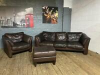 REAL LEATHER SOFA + ARMCHAIR + FOOTSTOOL 3+1 seater