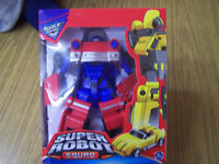 "Super Robot Squad 8"" high red and blue robot transforms into car new in box"