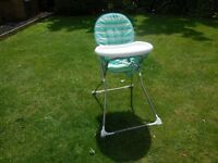 Blue and white highchair