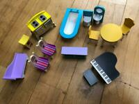 Wooden dolls house furniture bundle for Barbie sized dolls