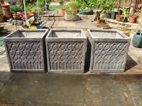 Lead effect planters (Gothic Cube), secondhand, large.