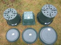 Elho International Holland selection of green plant containers / saucers - Made in England –