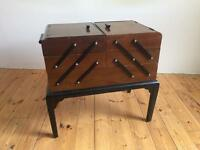 Large vintage Chard Product wooden sewing box on legs