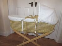 Moses basket with mattresses and wooden stand