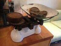 Vintage Salter enamel kitchen scales