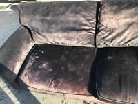 Velvet brown 3 seater