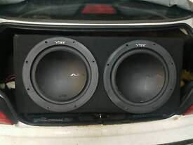 """2 x 12"""" Vibe slick subs in box"""