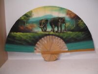 LARGE DECORATIVE DISPLAY FAN SHOWING ELEPHANTS IN A NATURAL HABITAT SIZE 1.2x62 cm