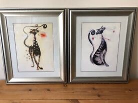 2 Marilyn Robertson Art Deco Framed Prints of Cats