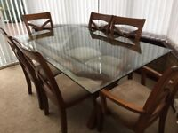 Glass top dining table & 6 chairs