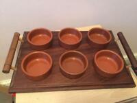 Tapas food serving tray and 6x dishes