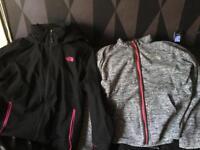 Black/pink north face & grey north face jacket